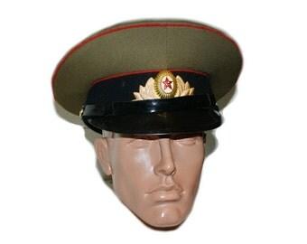 Russian / Soviet USSR Army Internal Troops Cap Tank Forces Officer Cap Original Soviet Officer Hat Soviet military visor cap