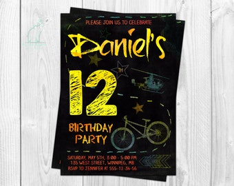 Teen Boy Birthday Invitation-Chalk Invitation-Teenager Invitation-Bicycle invitation-Kids invitation-Graffiti-Printable-Custom invitation