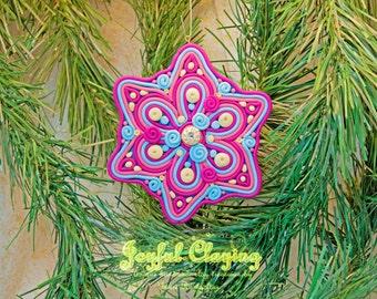 Mixed media pink/fuschia/ecru Clay Ornament