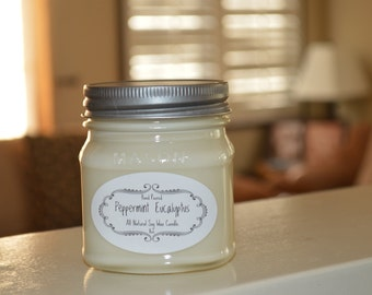 Peppermint Eucalyptus Candle - All Natural Scented Soy Wax Candle - Mason Jar 8oz - Silky Soy Candles