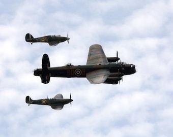 spitfire - lancaster - hurricane - planes - A4 fine art print - 14 x 11 inch Mount - battle of britain - wwII plane photograph - plane photo