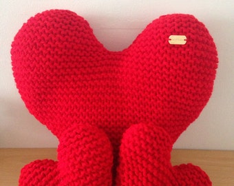 Set of 3 Hand Knitted Red Heart-Shaped Decorative Cushions