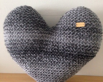 Hand Knitted Grey Marble Effect Heart-Shaped Decorative Cushion