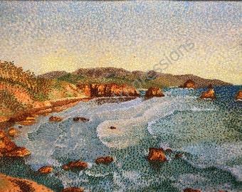 Hand Drawn, Impressionist Pointillism Style, Seascape of California Coast, Pastel drawing, OOAK