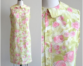 1960s Dress / Watercolor Rose Print Dress / Vintage 60s Shift Dress / Small