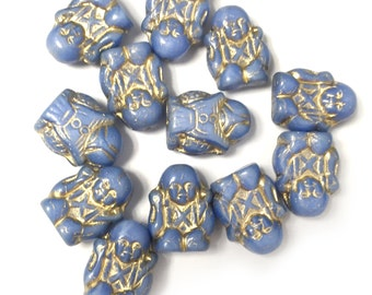 Blue/Gold Buddha Bead