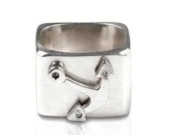 square ring in sterling silver with anchor for women and men, maritime jewelery, nautical gifts, nautical jewellry, sailing