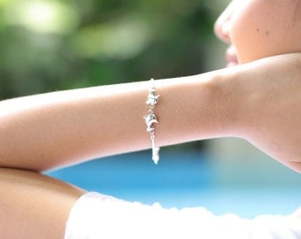 Silver dolphin pairs bracelet, Sterling silver bracelet, Silver bracelet, Boho silver bracelet, Silver wrist chain, (BS 10)