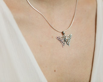 Silver butterfly charm, Sterling Silver chain, Silver charm pendant,  Silver butterfly necklace, 925 silver, Bohemian necklace (P 32)