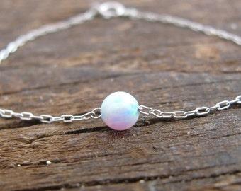 Opal bracelet, opal ball bracelet, opal silver bracelet, opal jewelry, tiny bracelet, opal bead bracelet, white opal bracelet, dot bracelet