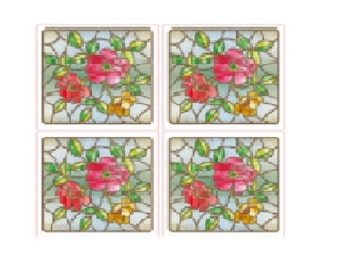 Spring Floral Tile Design Stained Glass Window Film Static Cling Film (free shipping