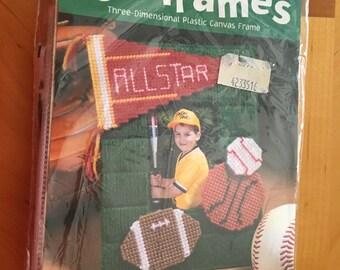 Plastic Canvas Needlepoint fun frame Kit  ALL STAR by: Bucilla