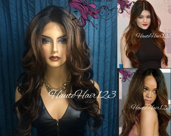 Kylie Jenner Rihanna Inspired Soft Waves Brown blonde Hightlights Ombre Realistic Human Hair Blend Lace Front Wig