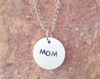 Mom Handstamped Necklace - Jewelry for Mom - mothers Day jewelry - mothers day gifts - mom jewelry - mothers day