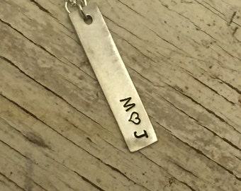 Handstamped Initials and Heart Necklace - Handstamped Jewelry