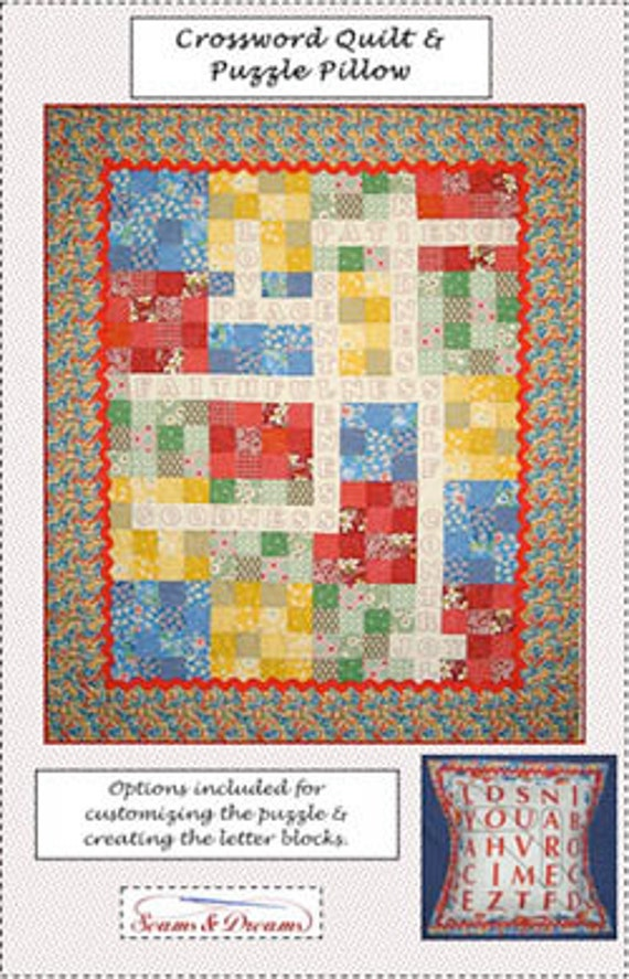 Legacy Digital Quilting Patterns : Crossword Quilt Pattern - by Seams & Dreams - Easy Quilt Pattern from SewCoolPatterns on Etsy Studio