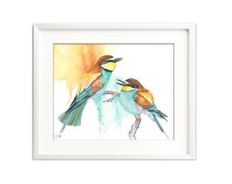 Bee Eater watercolor print, Bee Eater digital print, BE263DL, Printable bird watercolor, printable Bee Eater, Downloadable bird print