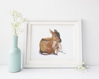 Deer print D165DL, nursery art, deer watercolor print, deer digital download print, deer downloadable print, printable deer