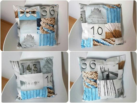housse de coussin aux motifs marins en gris et bleu pour une. Black Bedroom Furniture Sets. Home Design Ideas