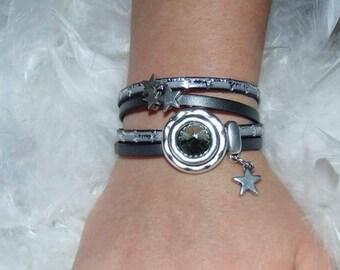 Bracelet clasp swarowski leather