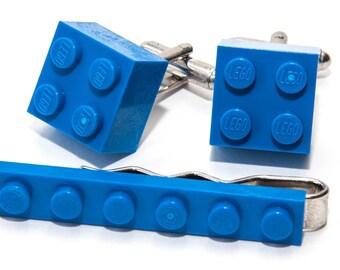Blue Lego Brick Cufflinks and Lego Plate Tie Clip  Handmade Cuff links