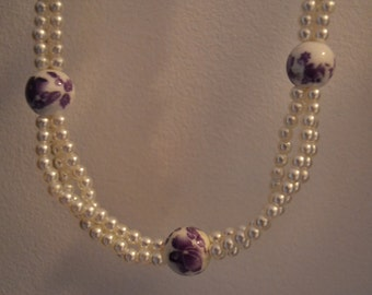Handmade necklace. Pearls and Ribbon