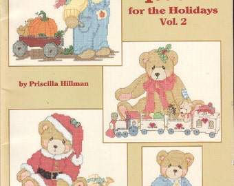 Cherished Teddies for the Holidays Vol 2 Counted Cross Stitch Leisure Arts Leaflet Vintage 1996