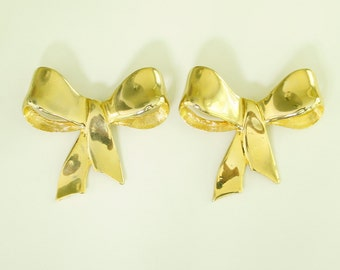 Gold Bow Shoe Clips, one pair