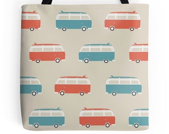 Volkswagen Tote Bag - VW Bus Tote Bag - Retro Tote Bag - Surfboard Tote Bag - Cute Tote Bag - Vintage Tote Bag - Surf Tote Bag - Retro Purse