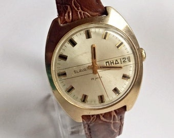 Rare! Vintage soviet watch, Men's Wrist Watches Mechanical watch, Soviet Gold plated watch Slava-26 jewels,Wrist watch, leather strap new