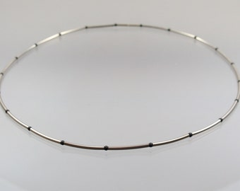 White gold necklace handmade 585 / - Onyx unique forged master work