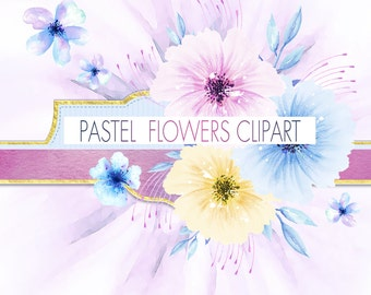 60% OFF SALE, Digital Watercolor Floral Clipart, Pastel Flowers Clipart, Watercolor Floral Clip art, Flowers Hand Painted Clipart, DIY