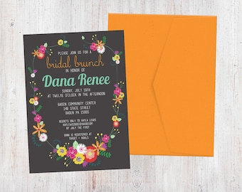 Bridal Shower Invitation - Folksy Florals {Customized Printable Invitation}