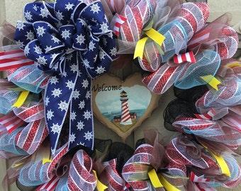 Summer Wreath, Lighthouse Deco Mesh Wreath, Deco Mesh Wreath, Lighthouse, Lighthouse Wreath