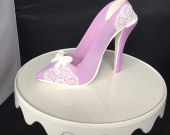 Sugar gumpaste fondant shoe heel cake topper with besitoful lace all 100% edible ready to go!