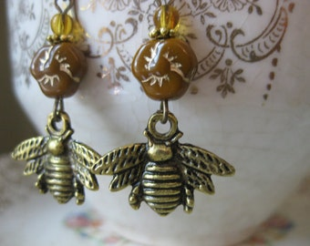 Worker Bee / Honey Bee Earrings with brass charm