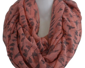 Infinity Scarf Pink Black Bird on Tree Branch Winter Bird Scarf Infinity Scarfs Loop Snood For Woman Ladies Xmas Gift For Her