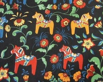 cotton fabric canvas swedish horses black colourful Leksand Mini Arvidssons