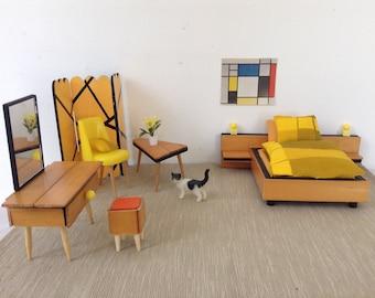 Dollhouse miniature furniture scale 1:12 bedroom, vintage look, Handmade,design,sixties