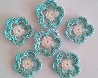 Crochet Flowers for applications / Set of  6 Pieces Crochet Flowers / Crochet Scrapbooking/Crochet Applique/