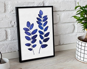 Botanical Wall Print - Watercolor Leafs - Botanical Decor - Modern Blue Leafs - Printable Instant Download - Printable Leaves - Plant Poster