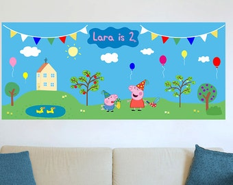 Peppa pig birthday party Wall Decoration. DIY Digital file/Printable.