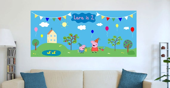Decoration Of Wall For Party : Peppa pig birthday party wall decoration diy digital