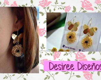 Butterfly earrings and detail in crochet