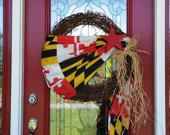 Maryland state flag wreath, State flag, patriotic flag, Americana Wreath, Patriotic Wreath