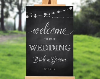 Wedding welcome sign - rustic - PRINTABLE - 16x20 - 18x24 - 20x30 - 24x36