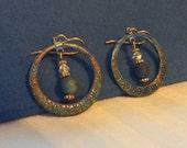 Raku and Patina Hoop Earrings