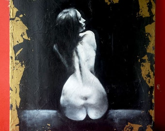 Paint, naked artistic woman, acrylic on canvas, coated linen, copper gilt feille 46/55 cm