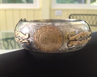 Mexican Sterling Silver & Vermeil Vintage Bracelet