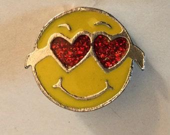 Happy Smiling Face Smile Heart Sunglasses Vintage Enamel Button